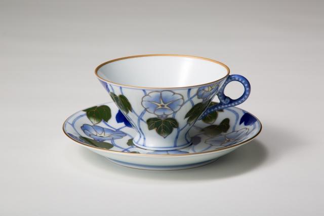 染錦つる朝顔 紅茶椀皿